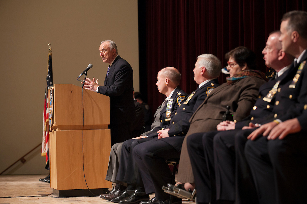 NYPD Commissioner William Bratton speaks after Mayor Bill de Blasio administered the Oath of Office to NYPD Recruits at Queens College, 65-30 Kissena Blvd, Flushing, NY on Thursday, Jan. 9, 2014.<br /> <br /> CREDIT: Andrew Hinderaker for The Wall Street Journal<br /> SLUG: NYSTANDALONE
