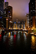 Night photography of Chicago, Illinois, USA