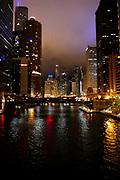 Night photography of Chicago, Illinois, USA
