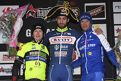 March 1, 2017 - Dour, Belgique - DOUR, BELGIUM - MARCH 1 : VAN KEIRSBULCK Guillaume (BEL) Rider of Wanty - Groupe Gobert, KIRCH Alex (LUX) Rider of WB Veranclassic AquaProtect, KEISSE Iljo (BEL) Rider of Quick-Step Floors Cycling team during the 49th Grand Prix Samyn cycling race with start in Quaregnon and finish in Dour on March 01, 2017 in Dour, Belgium, 1/03/2017 (Credit Image: © Panoramic via ZUMA Press)