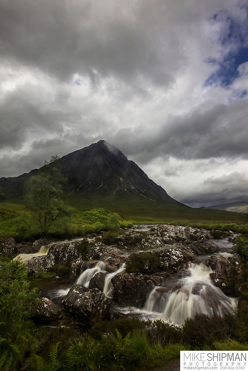 A rainy day over Stob Dearg (Buachaille Etive Mor), and falls on the River Coupall. Glen Coe, Scotland, UK