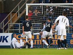 Falkirk's David McCracken clears from Raith Rovers Calum Elliot and Joe Cardle chance.<br /> Falkirk 3 v 1 Raith Rovers, Scottish Championship game at The Falkirk Stadium.