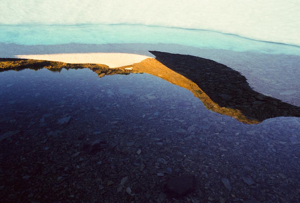 Alpine tarn near Grand Pass, summer, Olympic National Park, Washington, USA