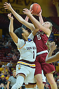 March 18, 2016; Tempe, Ariz;  New Mexico State Aggies forward Brook Salas (5) battles for a rebound during a game between No. 2 Arizona State Sun Devils and No. 15 New Mexico State Aggies in the first round of the 2016 NCAA Division I Women's Basketball Championship in Tempe, Ariz. The Sun Devils defeated the Aggies 74-52.
