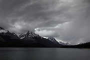 Stormy skies over Maligne Lake, near Jasper, Alberta, Canadian Rockies