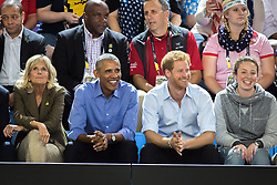 Former U.S. President Barack Obama and Prince Harry watch wheelchair basketball at the Invictus Games in Toronto, ON, Canada, on Friday, September 29, 2017. Photo by Chris Donovan/CP/ABACAPRESS.COM