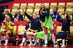 HERNING, DENMARK - DECEMBER 3, 2020: Johanna Forsberg and Kristin Thorleifsdottir during the EHF Euro 2020 Group C match between Sweden and Czech Republic in Jyske Bank Boxen, Herning, Denmark on December 3 2020. Photo Credit: Allan Jensen/EVENTMEDIA.