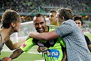 Melbourne Victory fans congratulate Archie Thompson