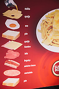 """The list of ingredients for one version of a """"francesinha"""" sandwich. Porto, Portugal"""