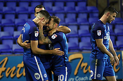 Jack Baldwin of Peterborough United is congratulated by team-mate Danny Lloyd after scoring his goal - Mandatory by-line: Joe Dent/JMP - 15/11/2017 - FOOTBALL - Prenton Park - Birkenhead, England - Tranmere Rovers v Peterborough United - Emirates FA Cup first round replay