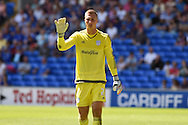 Simon Moore, the Cardiff city goalkeeper looks on. Skybet football league championship match, Cardiff city v Fulham at the Cardiff city stadium in Cardiff, South Wales on Saturday 8th August  2015.<br /> pic by Andrew Orchard, Andrew Orchard sports photography.