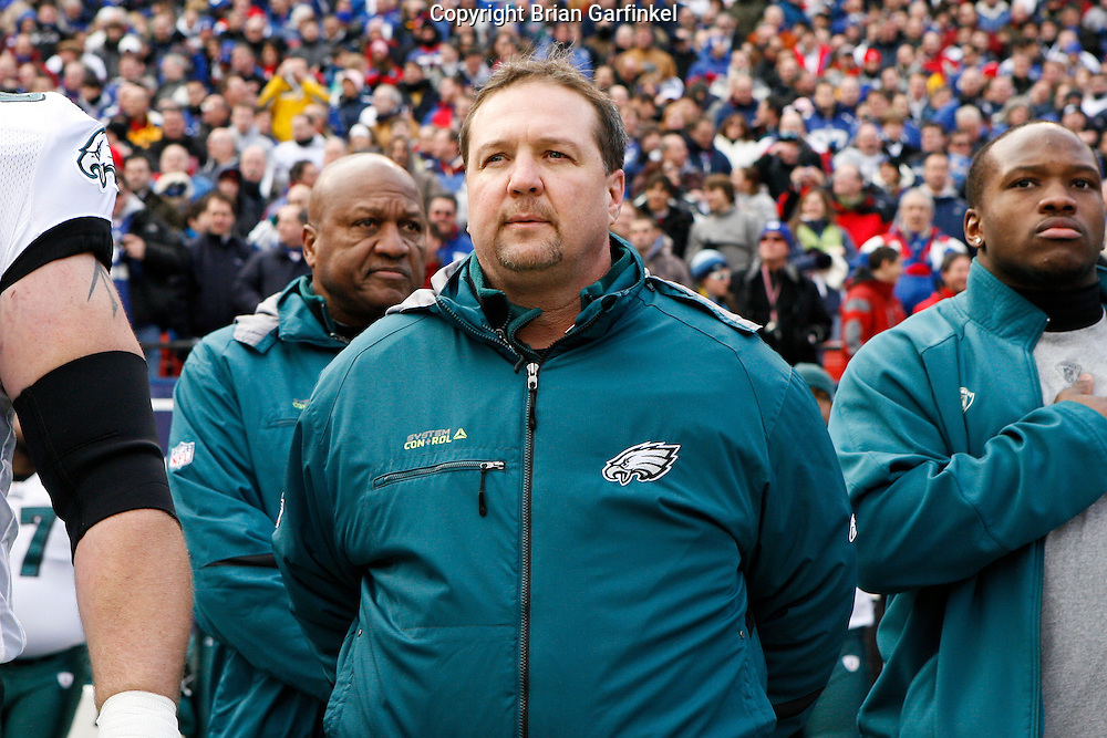 11 Jan 2009: Philadelphia Eagles Offensive Coordinator Marty Mornhinweg during the National Anthem before the game against the New York Giants on January 11th, 2009.  The  Eagles won 23-11 at Giants Stadium in East Rutherford, New Jersey.