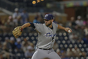 Columbus Clippers pitcher Josh D. Smith (30) delivers a pitch during the MiLB International Championship baseball game against the Durham Bulls, Thursday, September 12, 2019, in Durham, N.C. The Clippers beat the Bulls 6-2 to complete a three-game sweep of the two-time defending champion. (Brian Villanueva/Image of Sport)
