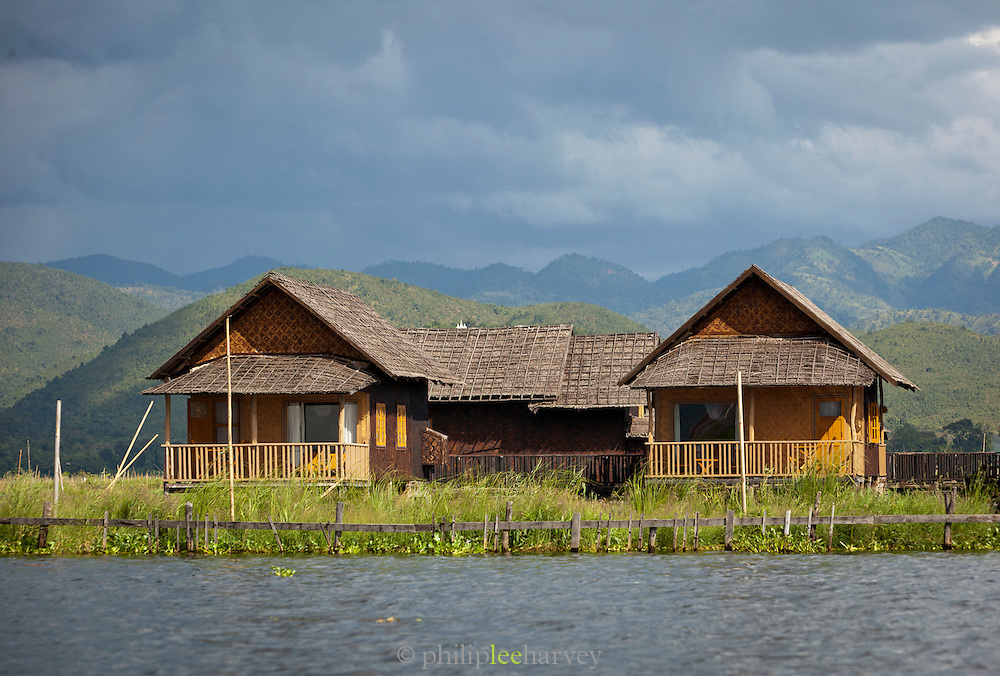 Golden Island Cottages Hotel is built on stilts in the middle of the massive Inle Lake in Shan State, Myanmar