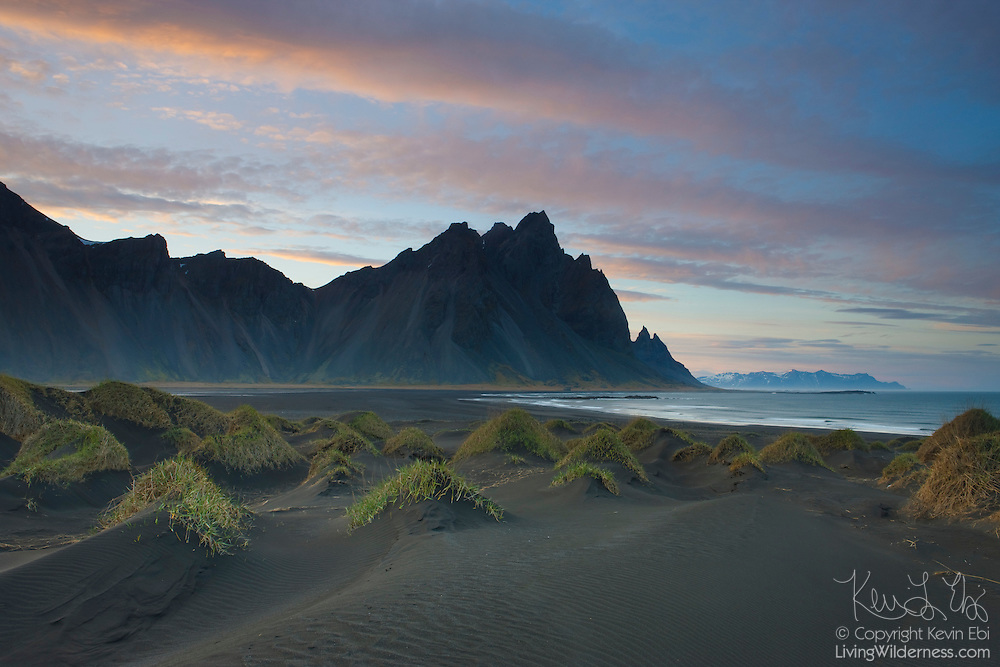 Vestrahorn, a mountain located in southern Iceland, towers over the black-sand beach near Stokksnes.
