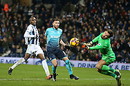 Borja Baston of Swansea city (c) is denied a goal by a save from West Brom goalkeeper Ben Foster.Premier league match, West Bromwich Albion v Swansea city at the Hawthorns stadium in West Bromwich, Midlands on Wednesday 14th December 2016. pic by Andrew Orchard, Andrew Orchard sports photography.