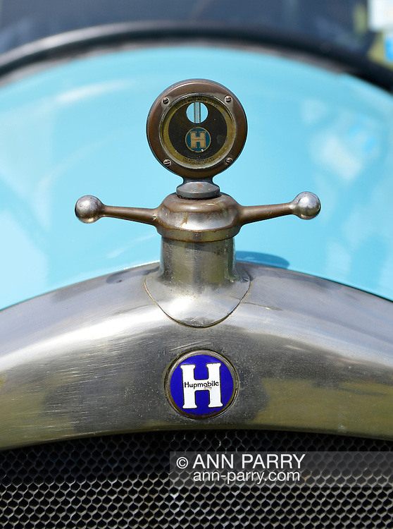 April 28, 2013 - Floral Park, New York, U.S. -   The Boyce MotoMeter, which reads the temperature of the radiator, is shown in closeup, on this blue Hupmobile at the Antique Auto Show, where New York Antique Auto Club members exhibited their cars on the farmhouse grounds of Queens County Farm Museum.