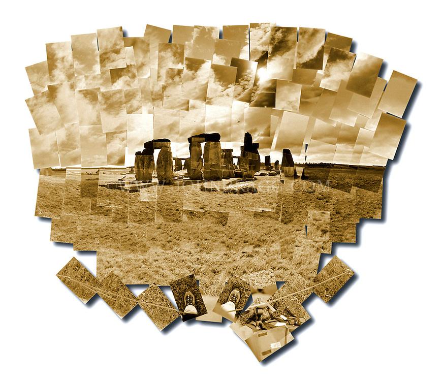 Sepia toned photo collage of Stonehenge, outside of Salisbury, England.