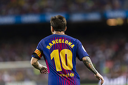 August 20, 2017 - Barcelona, Catalonia, Spain - Lionel Messi  with the name of barcelona shirt instead of his during the match between FC Barcelona vs Real Betis Balompie, for the round 1 of the Liga Santander, played at Camp Nou Stadium on 20th August 2017 in Barcelona, Spain. (Credit Image: © Urbanandsport/NurPhoto via ZUMA Press)