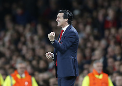 BRITAIN-LONDON-FOOTBALL-UEFA EUROPA LEAGUE-ARSENAL VS VALENCIA.(190502) -- LONDON, May 2, 2019  Arsenal's coach Unai Emery celebrates during the UEFA Europa League semi-final first leg match between Arsenal and Valencia at The Emirates Stadium in London, Britain on May 2, 2019. Arsenal won 3-1.  FOR EDITORIAL USE ONLY. NOT FOR SALE FOR MARKETING OR ADVERTISING CAMPAIGNS. NO USE WITH UNAUTHORIZED AUDIO, VIDEO, DATA, FIXTURE LISTS, CLUB/LEAGUE LOGOS OR ''LIVE'' SERVICES. ONLINE IN-MATCH USE LIMITED TO 45 IMAGES, NO VIDEO EMULATION. NO USE IN BETTING, GAMES OR SINGLE CLUB/LEAGUE/PLAYER PUBLICATIONS. (Credit Image: © Matthew Impey/Xinhua via ZUMA Wire)