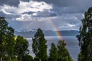 VILDMARKSVÄGEN JULI 2020<br /> Regn och hagel över Stora Blåsjön som även bjöd på en fin regnbåge.<br /> Foto: Per Danielsson/Projekt.P