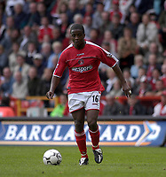 Photo. Glyn Thomas<br />Charlton Athletc v Liverpool. Barclaycard Premiership.<br />The Valley, Charlton. 28/09/2003.<br />Kevin Lisbie begins the run which brought him his third goal and his side's winner.