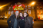 NO FEE PICTURES<br /> 30/12/15 Karina Imperatrice, Andrea and Francesca Rubino, Venezuela, at the Luminosity 3D animations on the Department of Foreign Affairs on St Stephens Green, part of the New Years Festival in Dublin. nyf.com running from 30th Dec to 1st Jan in Dublin. Picture: Arthur Carron
