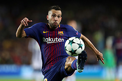 September 12, 2017 - Barcelona, Spain - Jordi Alba of FC Barcelona during the UEFA Champions League, Group D football match between FC Barcelona and Juventus FC on September 12, 2017 at Camp Nou stadium in Barcelona, Spain. (Credit Image: © Manuel Blondeau via ZUMA Wire)