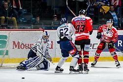 24.11.2019, Ice Rink, Znojmo, CZE, EBEL, HC Orli Znojmo vs Fehervar AV 19, 21. Runde, im Bild v.l. Daniel Kornakker (Hydro Fehervar AV19) Harri Tikkanen (Hydro Fehervar AV19) Petr Beranek (HC Orli Znojmo) David Bartos (HC Orli Znojmo) // during the Erste Bank Eishockey League 21th round match between HC Orli Znojmo and Fehervar AV 19 at the Ice Rink in Znojmo, Czechia on 2019/11/24. EXPA Pictures © 2019, PhotoCredit: EXPA/ Rostislav Pfeffer