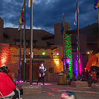 Leslie Lewinski from San Carlos, AZ performs at the Welcome Reception and Queer Showcase in front of the Navajo Nation Council Chambers Friday, June 28 after the rainbow lighting ceremony as part of DinéPride 2019 in Window Rock.