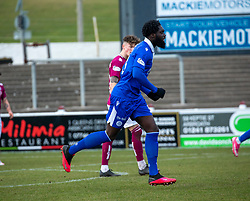 06MAR21 Queen of the South's Ayo Obileye cele scoring their first goal. half time : Arbroath 2 v 3 Queen of the South, Scottish Championship played 6/3/2021 at Arbroath's home ground, Gayfield Park.