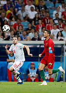 Jordi Alba of Spain and Cristiano Ronaldo of Portugal during the 2018 FIFA World Cup Russia, Group B football match between Portugal and Spain on June 15, 2018 at Fisht Stadium in Sotschi, Russia - Photo Tarso Sarraf / FramePhoto / ProSportsImages / DPPI