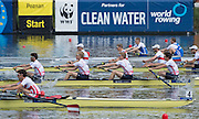 Poznan. Poland. GBR LM4-, Bow:, Sam SCRIMGEOUR, Jonathan CLEGG, Mark ALDRED and Chris BARTLEY, heat of the the lightweight men's fours at the FISA 2015 European Rowing Championships. Venue Lake Malta. 29.05.2015. [Mandatory Credit: Peter Spurrier/Intersport-images.com] .   Empacher.