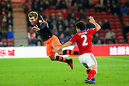 Sheffield Wednesday forward, on loan from West Bromwich Albion, Callum McManaman (10) is fouled by \m2/ during the The FA Cup match between Middlesbrough and Sheffield Wednesday at the Riverside Stadium, Middlesbrough, England on 8 January 2017. Photo by Simon Davies.