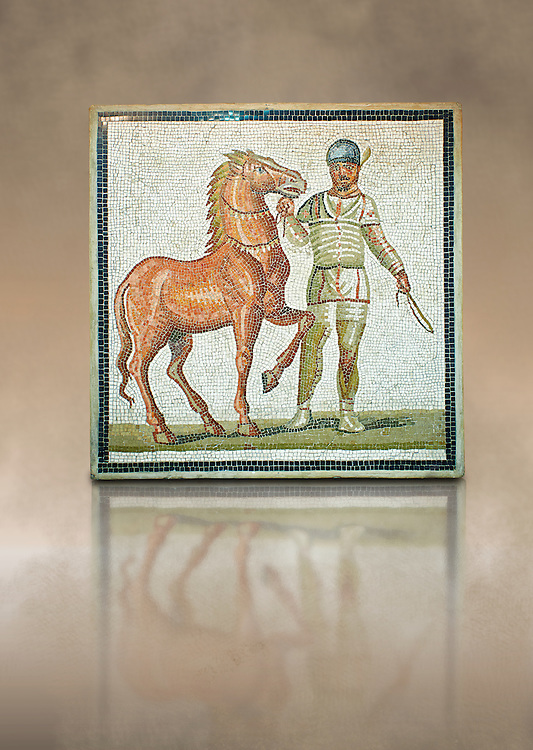 Roman geometric floor mosaic depicting Green Faction Charioteer and his horse from the Circus  from  a room of a villa  in the locality Baccano near the Via Cassia, Rome. Beginning of the 3rd century AD. National Roman Museum, Rome, Italy .<br /> <br /> If you prefer to buy from our ALAMY PHOTO LIBRARY  Collection visit : https://www.alamy.com/portfolio/paul-williams-funkystock/national-roman-museum-rome-mosaic.html <br /> <br /> Visit our ROMAN ART & HISTORIC SITES PHOTO COLLECTIONS for more photos to download or buy as wall art prints https://funkystock.photoshelter.com/gallery-collection/The-Romans-Art-Artefacts-Antiquities-Historic-Sites-Pictures-Images/C0000r2uLJJo9_s0