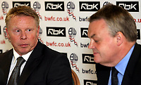 Photo: Paul Thomas.<br /> Bolton Wanderers Press Conference. 30/04/2007.<br /> <br /> New Bolton manager Sammy Lee (L) and Chairman Phil Gartside talk to the media.