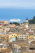 Kerkyra, Corfu Town, Agios Spyridon church belltower, Norwegian Jade cruise liner ship in Ionian Sea, Ionian Islands, Greece