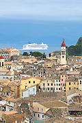 Kerkyra, Corfu Town, Agios Spyridon church belltower, Norwegian Jade cruise liner ship in Ionian Sea, Ionian Islands, Greece
