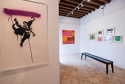 Art works on display at XVA gallery in Bastakiya old district of Dubai United Arab Emirates