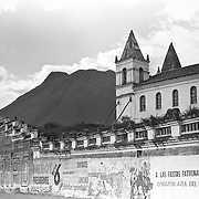 Earthquake fractured church is propped up with strong iron poles, San Rafael, Ecuador