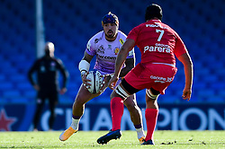Jack Nowell of Exeter Chiefs is marked by Francois Cros of Toulouse - Mandatory by-line: Ryan Hiscott/JMP - 26/09/2020 - RUGBY - Sandy Park - Exeter, England - Exeter Chiefs v Toulouse - Heineken Champions Cup Semi Final
