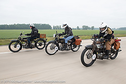 Vern Acres, Chris O'Brien and Mark Hill ride their 4-cylinder Hendersons on the Motorcycle Cannonball coast to coast vintage run. Stage 5 (229 miles) from Bowling Green, OH to Bourbonnais, IL. Wednesday September 12, 2018. Photography ©2018 Michael Lichter.