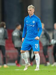 Albert Guðmundsson (Island) under opvarmning før kampen i Nations League mellem Danmark og Island den 15. november 2020 i Parken, København (Foto: Claus Birch).