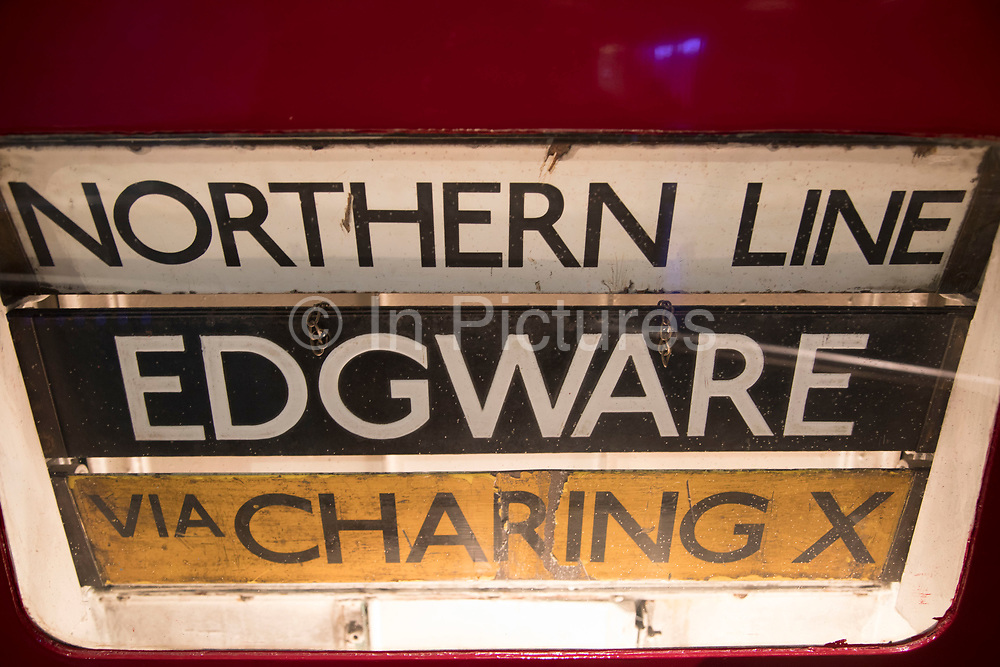 Old Northern Line train sign at London Transport Museum in London, England, United Kingdom. The London Transport Museum, or LT Museum based in Covent Garden, seeks to conserve and explain the transport heritage of Britains capital city. The majority of the museums exhibits originated in the collection of London Transport, but, since the creation of Transport for London, TfL, in 2000, the remit of the museum has expanded to cover all aspects of transportation in the city.