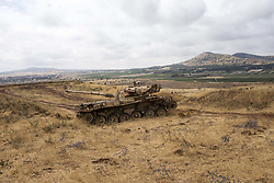 June 21, 2017 - Golan Heights, Israel - A British-made ''Centurion'' Main Battle Tank sits abandoned from the Six Day Way in Israeli occupied Syria. (Credit Image: © Alex Edelman via ZUMA Wire)