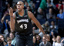 October 31, 2018 - Minneapolis, MN, USA - The Minnesota Timberwolves' Anthony Tolliver reacts after making a 3-pointer in the second quarter against the Utah Jazz at the Target Center in Minneapolis on Wednesday, Oct. 31, 2018. (Credit Image: © Carlos Gonzalez/Minneapolis Star Tribune/TNS via ZUMA Wire)