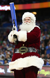 December 22, 2017 - Orlando, FL, USA - Santa holds a t-shirt cannon as the New Orleans Pelicans visit the Orlando Magic at the Amway Center in Orlando, Fla., on Friday, Dec. 22, 2017. (Credit Image: © Stephen M. Dowell/TNS via ZUMA Wire)