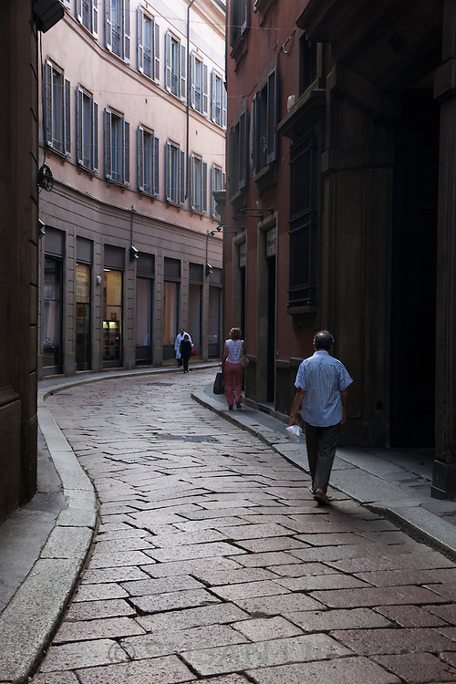 A stone paved street in Milan, Italy.