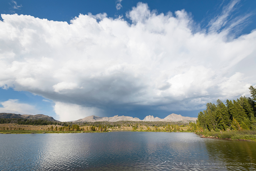 Storm Clouds over Dream Lake. Mount Bonneville and Raid Peak are in the distance. Wind River Range Wyoming