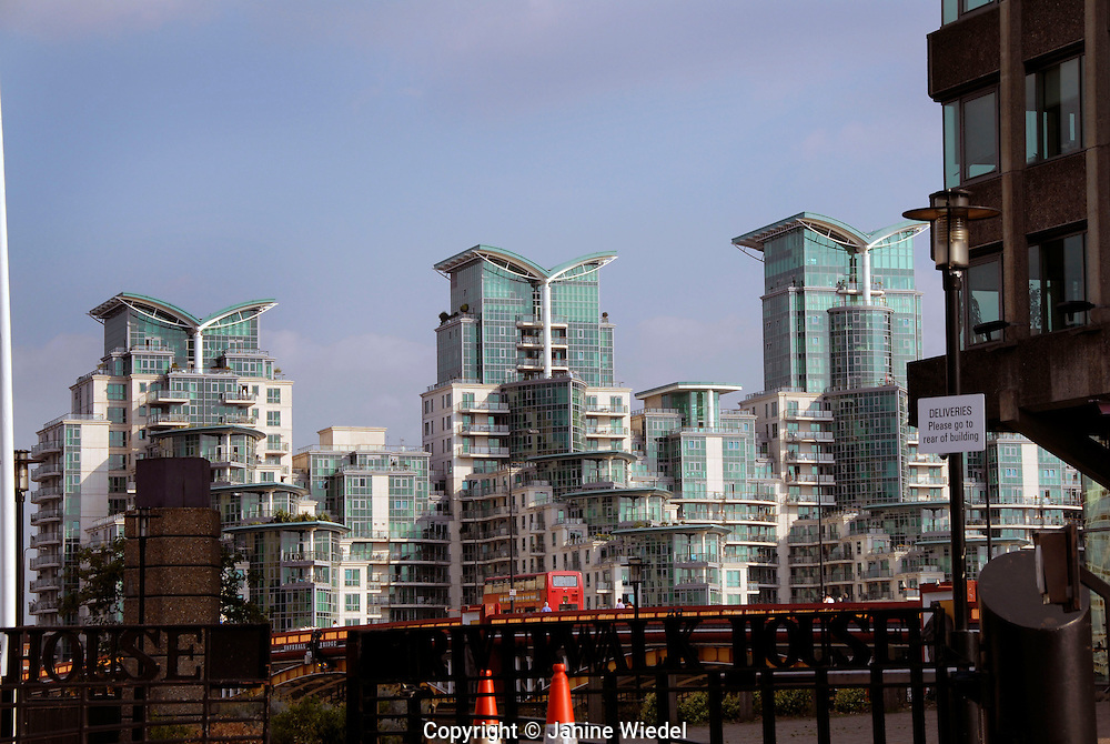 St George Warf Apartment building on the Thames designed by Broadway Malyan Architects near vauxhall bridge South London